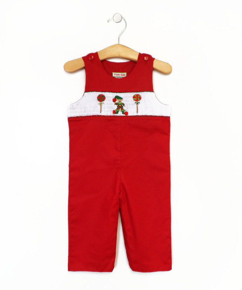 Elf hand smocked baby boy overall - Little Threads Inc. Children's Clothing