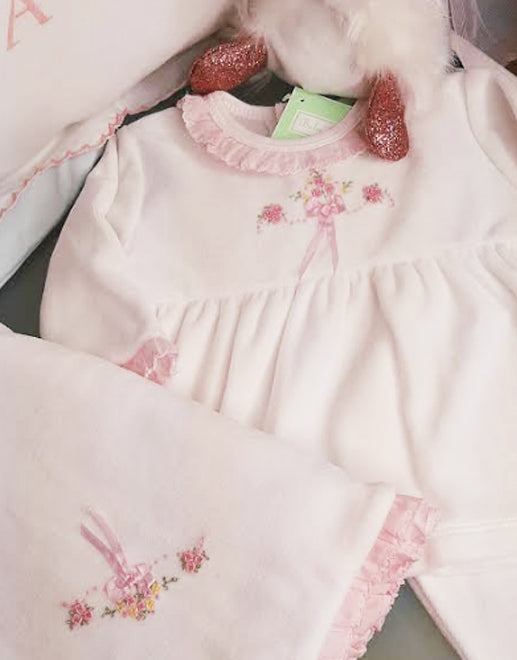 White Velour Baby girl's Pant Set - Little Threads Inc. Children's Clothing