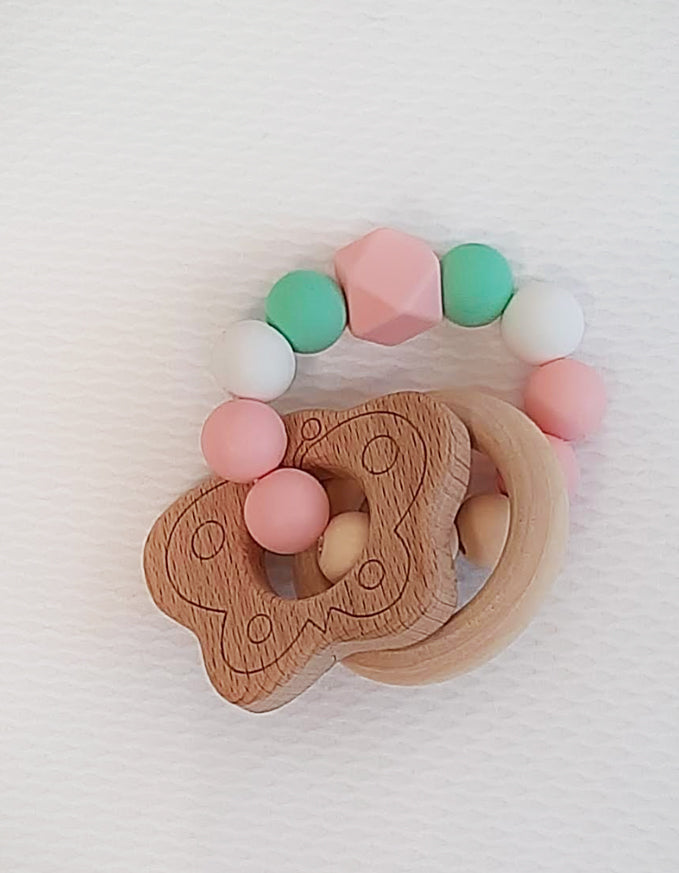 Butterfly Wooden baby rattle. - Little Threads Inc. Children's Clothing