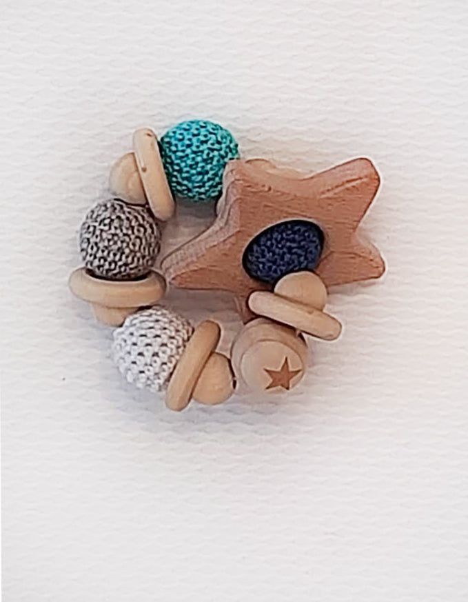 Star Wooden baby rattle. - Little Threads Inc. Children's Clothing