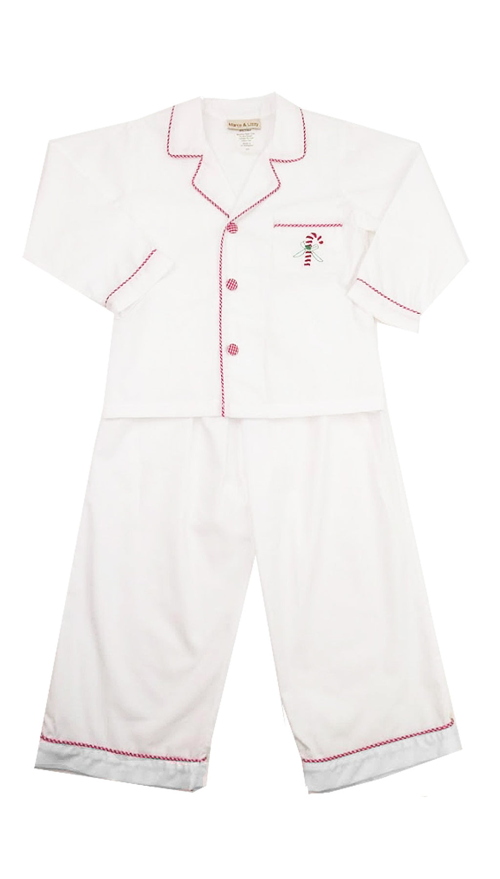 White Candy Cane Boy's Pjs - Little Threads Inc. Children's Clothing