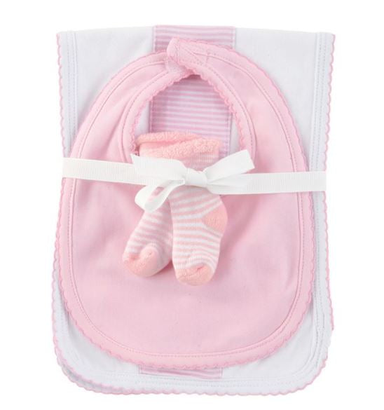 Pink Burp Pad, Bib and Socks  Baby Set - Little Threads Inc. Children's Clothing