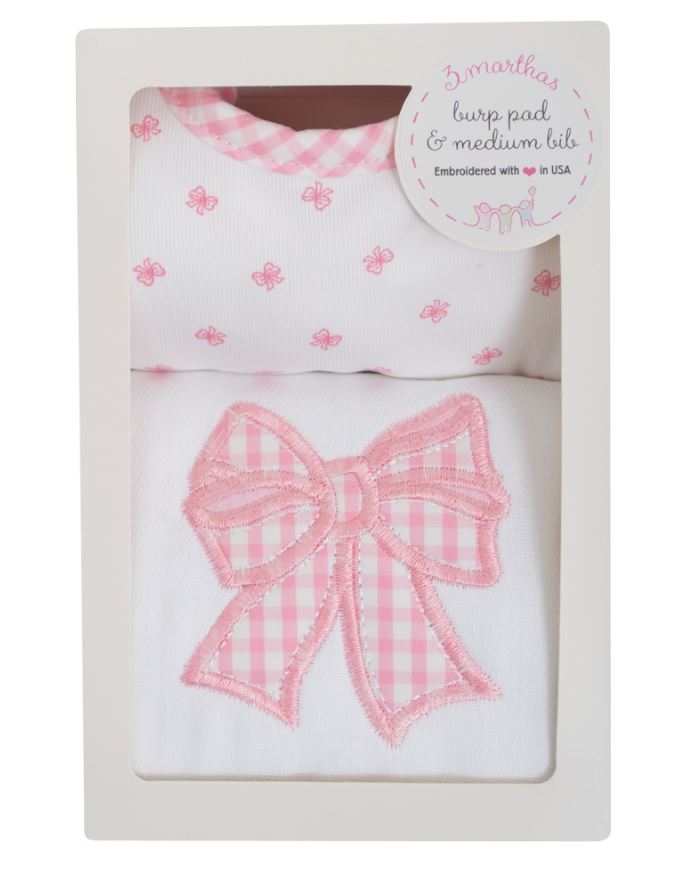 Bows applique burp pad and bib set. - Little Threads Inc. Children's Clothing