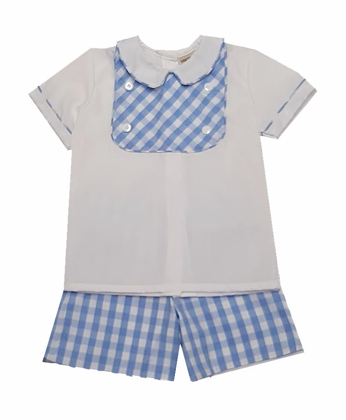 Carson blue checks  Short Set - Little Threads Inc. Children's Clothing