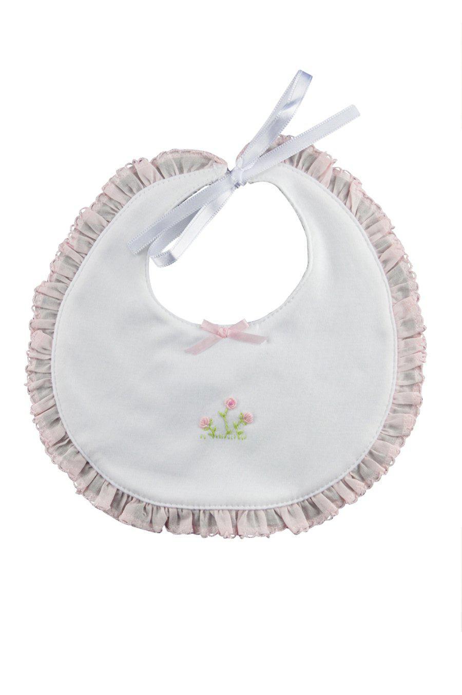 Rose Vine Bib with Pink Ruffle - Little Threads Inc. Children's Clothing