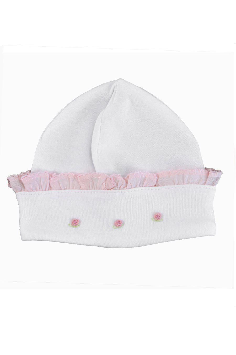Rosebuds Hat with Pink Trim - Little Threads Inc. Children's Clothing