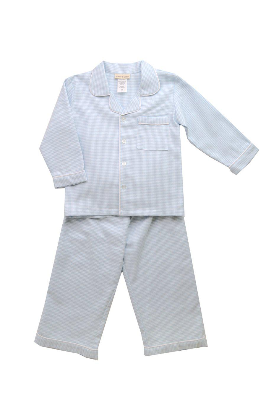 Blue Classic Houndstooth Two Piece Boy's Jammies - Little Threads Inc. Children's Clothing