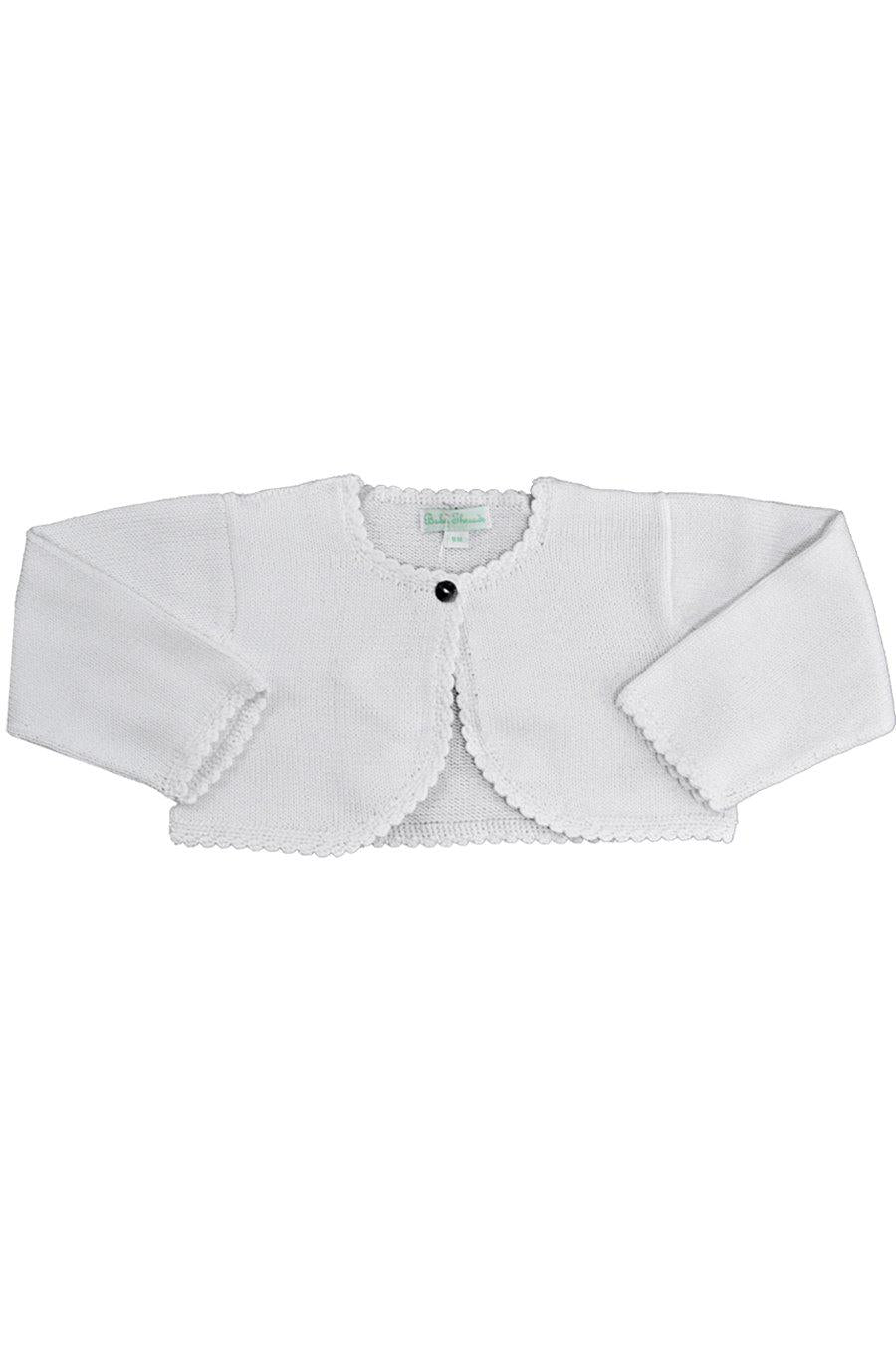 White Mercerized Cotton Knitted Baby Cardigan - Little Threads Inc. Children's Clothing