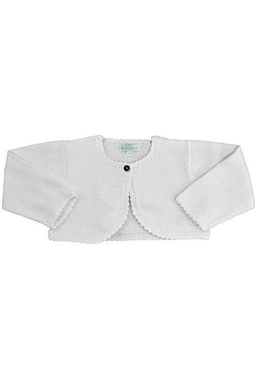 White Mercerized Cotton Knitted Baby Cardigan