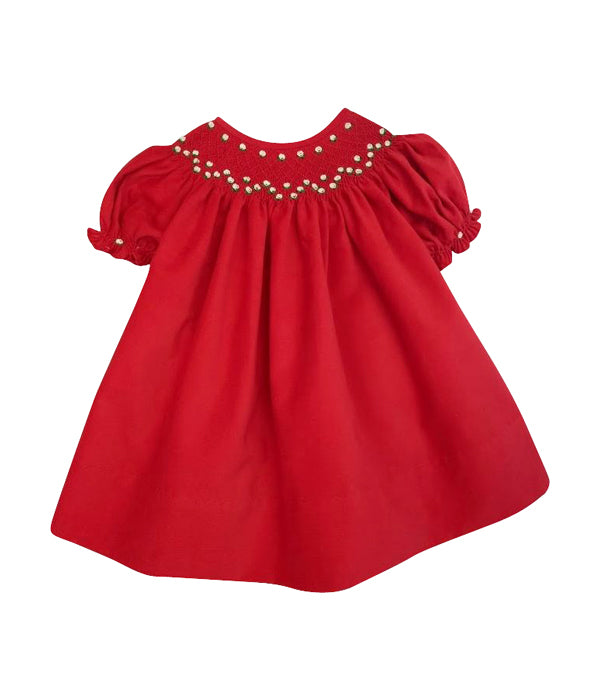 Girl's Red Corduroy Bishop Dress - Little Threads Inc. Children's Clothing