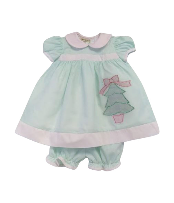 Girl's Mint Christmas Tree Pop Over - Little Threads Inc. Children's Clothing