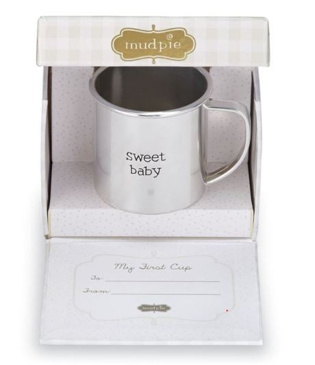 Keepsake Pewter Plate Baby Cup - Little Threads Inc. Children's Clothing