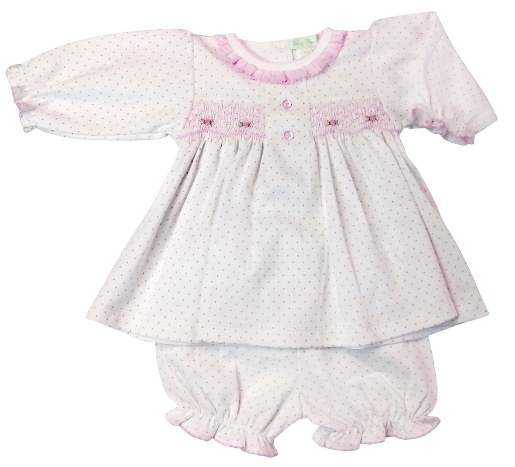 Pink Dots Pima cotton Baby Girl's Dress