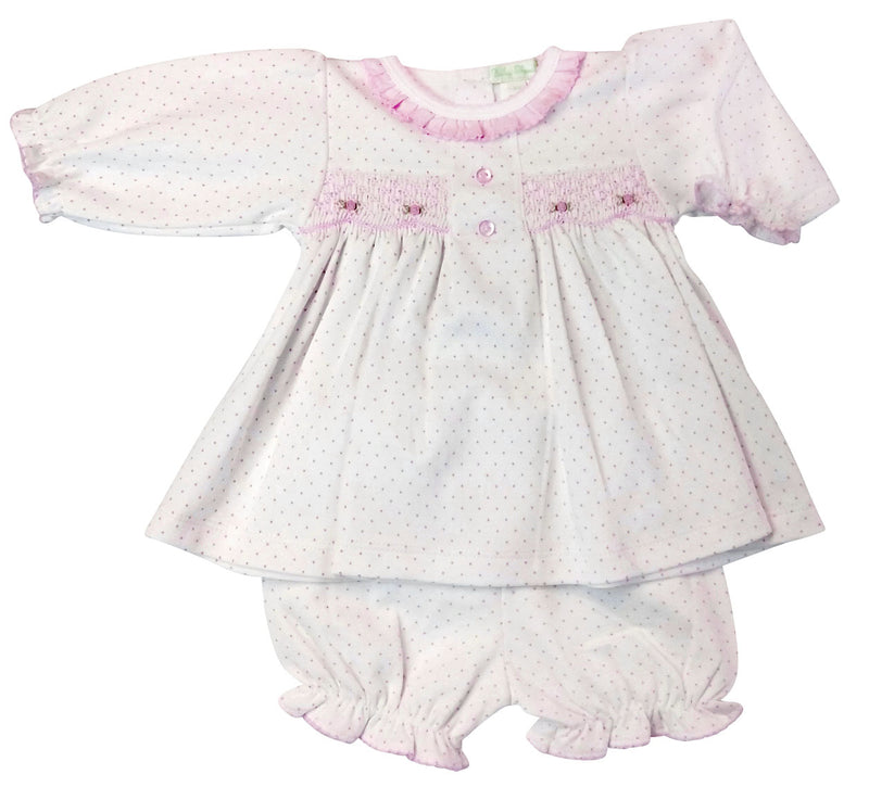 Pink Dots Pima cotton Baby Girl's Dress - Little Threads Inc. Children's Clothing