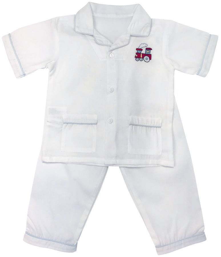 Train Boy's white cotton PJs set - Little Threads Inc. Children's Clothing