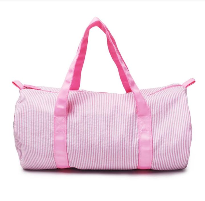 Pink Seersucker Duffle bag for monograming - Little Threads Inc. Children's Clothing