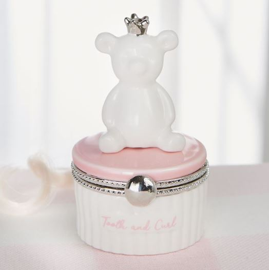 Pink Bear Tooth and curl Keepsake - Little Threads Inc. Children's Clothing