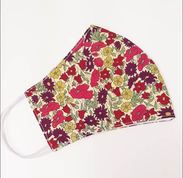Poppy and Daisy  Liberty of London print  mask - Little Threads Inc. Children's Clothing