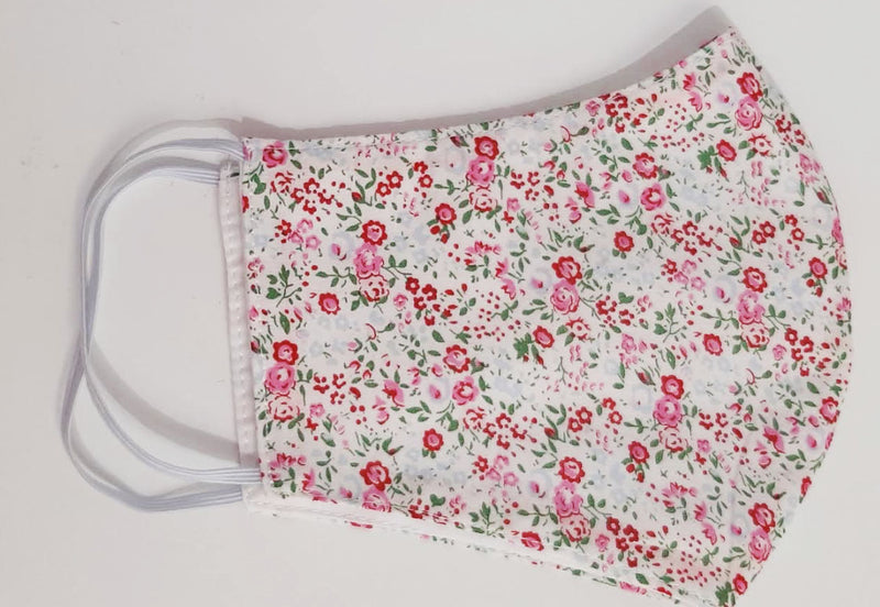 Red Floral  European Cotton print  mask - Little Threads Inc. Children's Clothing