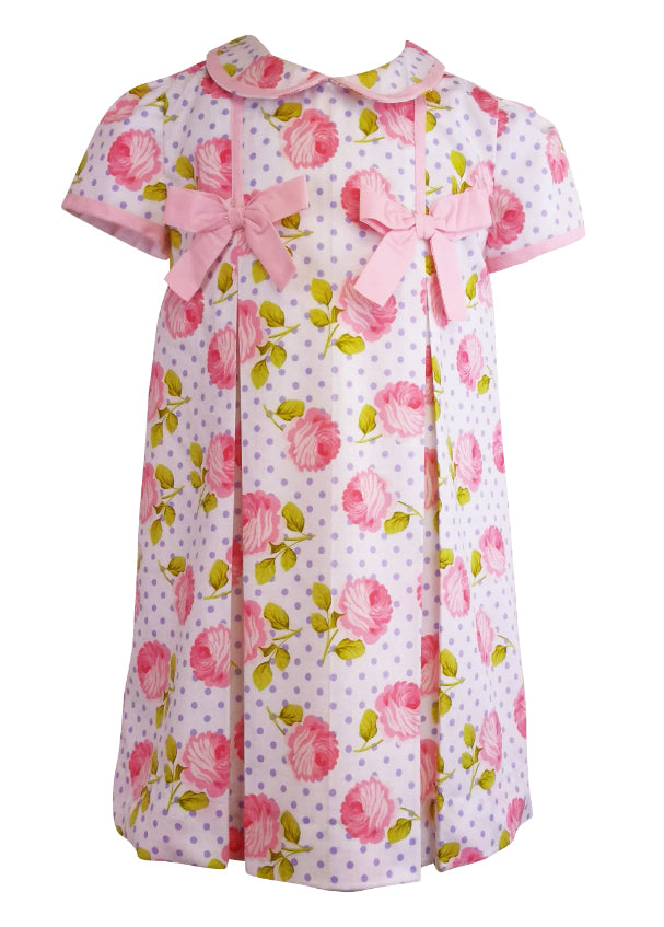 Rose and Dots Pink Bows Girl's Dress - Little Threads Inc. Children's Clothing