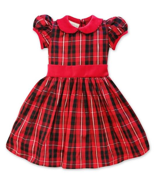 Silk Holiday Plaid Girl's Dress - Little Threads Inc. Children's Clothing