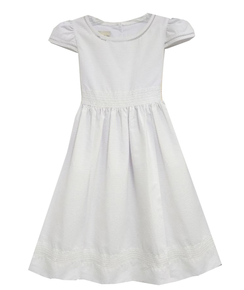 White pique first communion dress - Little Threads Inc. Children's Clothing