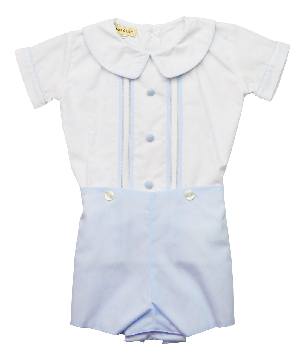 Blue Batiste Boy's Short Set - Little Threads Inc. Children's Clothing