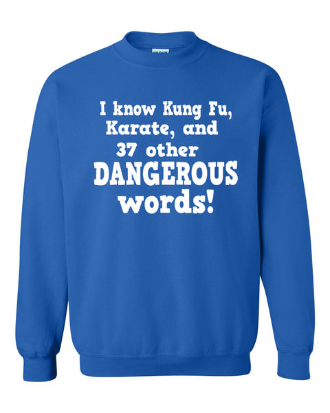 I know Kung Fu, Karate and 37 other dangerous words Crewneck Sweatshirt