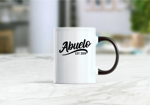 Abuelo est 2019 mug, pregnancy reveal to grandparents, new abuelo coffee mug