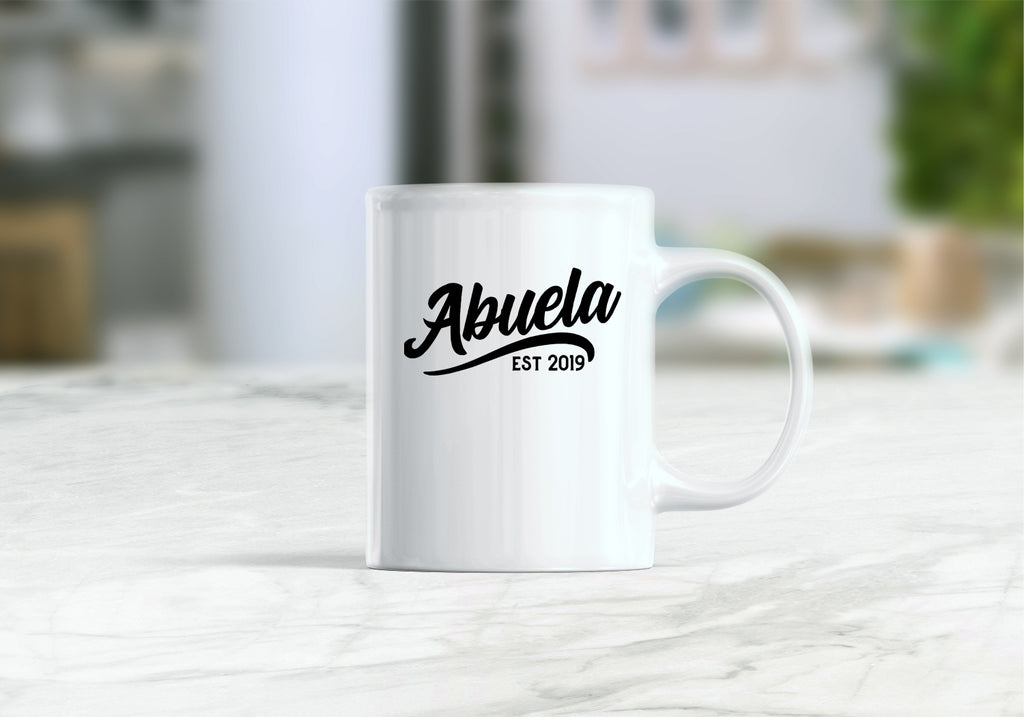Abuela est 2019 mug, pregnancy reveal to grandparents, new abuela coffee mug