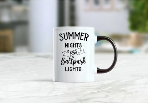 Summer nights and ballpark lights coffee mug
