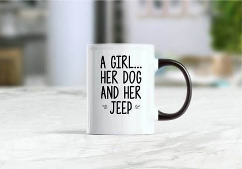 A girl her dog and her jeep coffee mug