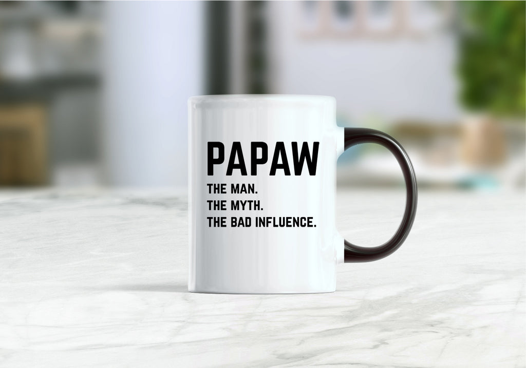 Papaw the man the myth the bad influence coffee mug
