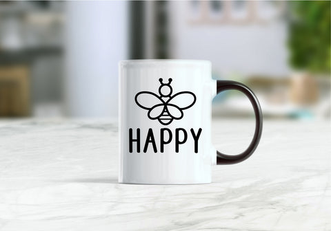 Bee happy, be happy, happy coffee mug