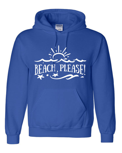 Beach please hoodie ocean summer vacation sweatshirt funny humor cool