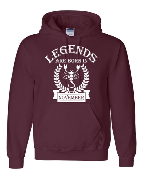 Legends are born in November hoodie, zodiac thing,  birthday gift, astrology horoscope hoodie, for her, for him, scorpio