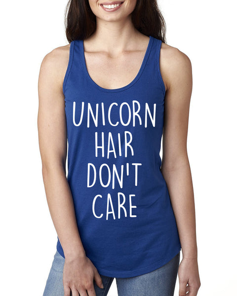 Unicorn hair don't care Ladies  Racerback Tank Top