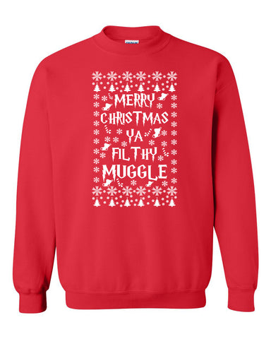 Merry Christmas ya filthy muggle Crewneck Sweatshirt