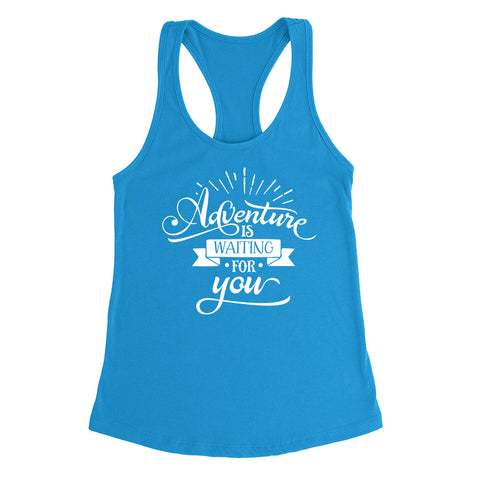 Adventure is waiting for you  funny cool cute fashion graphic  Ladies  Racerback Tank Top