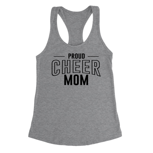 Proud cheer mom team squad game day sport mom love cheerleading Mother's day Ladies Racerback Tank Top