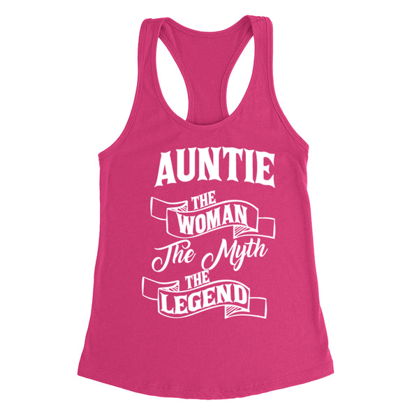 Auntie the woman the myth the legend birthday mother's day Christmas xmas family Ladies  Racerback Tank Top