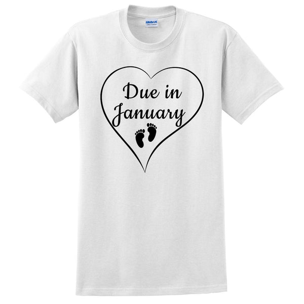 Due in January pregnancy announcement baby reveal baby shower Mother's day gift  T Shirt