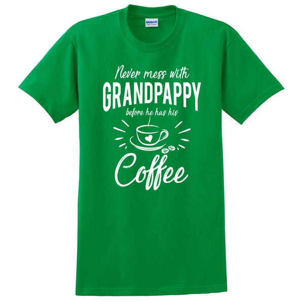 Never mess with grandpappy before he has his coffee t shirt, funny gift ideas, grandparents day, gift for dad, grandpa, grandfather