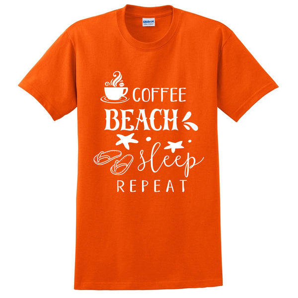 Coffee beach sleep repeat t shirt  graphic tees funny quote cool  outfit shirt