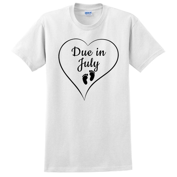 Due in July pregnancy announcement baby reveal baby shower Mother's day gift  T Shirt