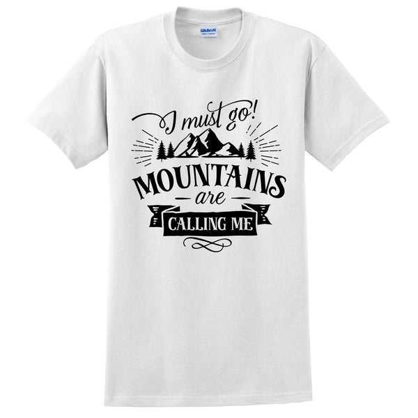 I must go mountains are calling me t shirt camp camping camper  hiking shirts