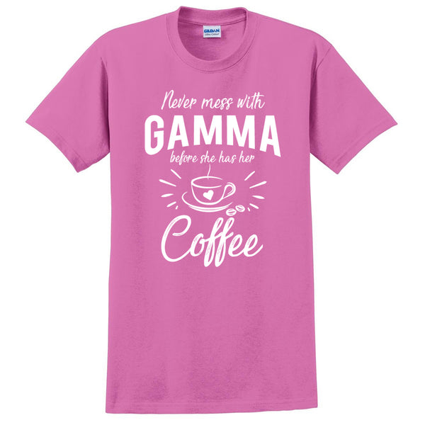 Never mess with gamma before she has her coffee t shirt, funny gift ideas, grandparents day, gift for mom, grandma, grandmother