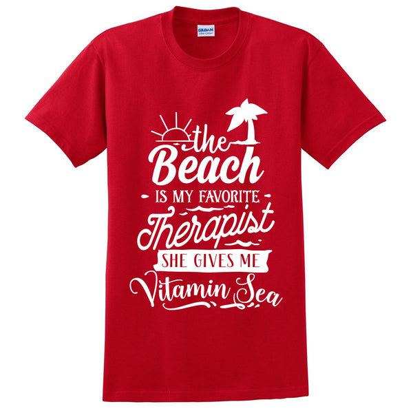 The beach is my favorite therapist she gives me vitamin sea t shirt summer therapy and vacation tee