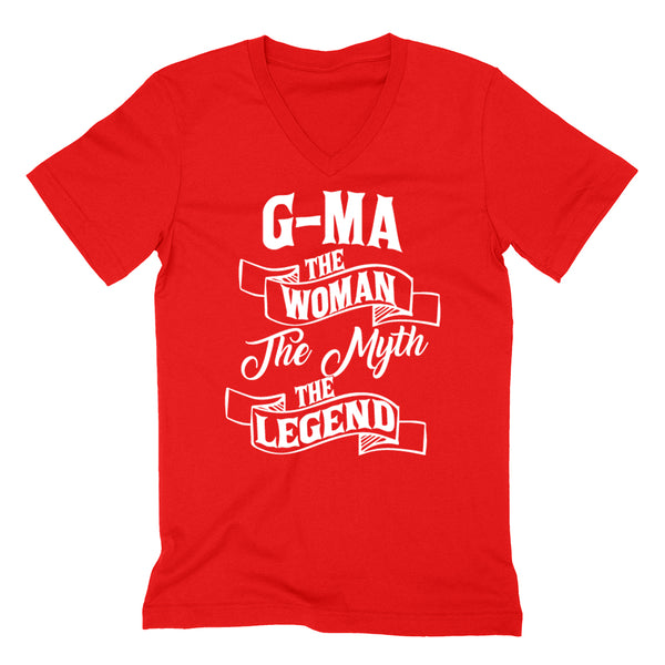 G-ma the woman the myth the legend birthday mother's day Christmas xmas family V Neck T Shirt