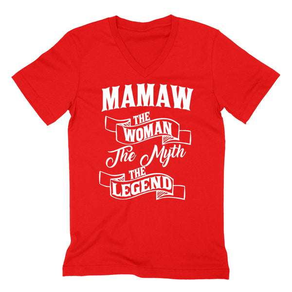 Mamaw the woman the myth the legend birthday mother's day Christmas xmas family V Neck T Shirt